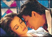 Shah Rukh Khan and Aishwarya Rai play Devdas and Paro in Sanjay Leela Bhasali's opus