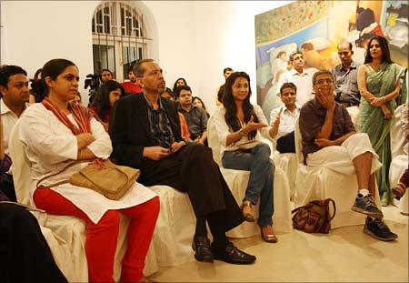 At the Mumbai book launch, in a South Mumbai art gallery, guests ask Amrita questions