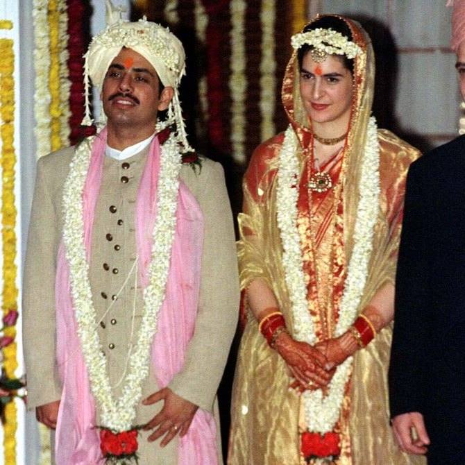 Robert Vadra with Priyanka Gandhi on their wedding day
