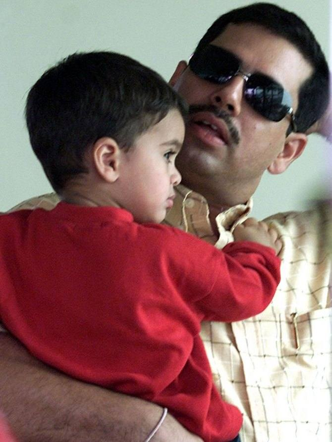Robert Vadra with his son, Rehan