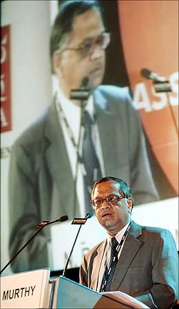 Infosys chief mentor N R Narayana Murthy addresses a Nasscom meet in Mumbai.