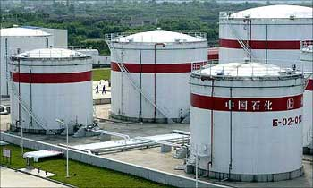 Oil tanks are seen at a Sinopec plant in Hefei, Anhui province, China.