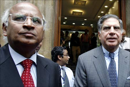 Tata Group chairman Ratan Tata (R) and former TCS CEO S Ramadorai.
