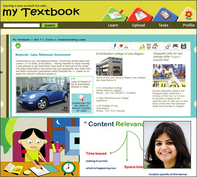 Shreyasi Roy (inset) and her 'My Textbook' web application