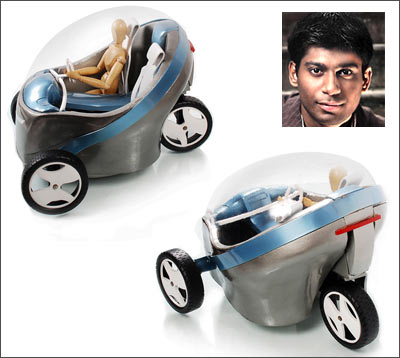 Amey Dhuri (inset) and his eco-friendly vehicle