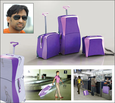Abneet Chauhan (inset) and his upscale travel luggage for women