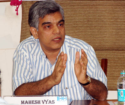 Mahesh Vyas at the Indian Merchants' Chamber on June 23