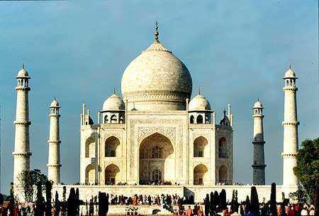 Visitors throng the Taj Mahal, India's most famous tourist destination