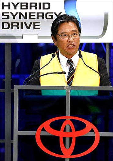 Toyota Australia president and CEO Max Yasuda speaks at a media event at a plant in Melbourne.