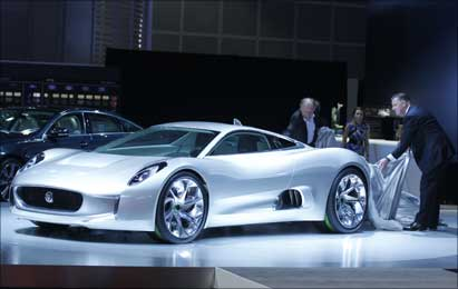 Jaguar's CX75 electric car is unveiled at the LA Auto Show in Los Angeles, California.