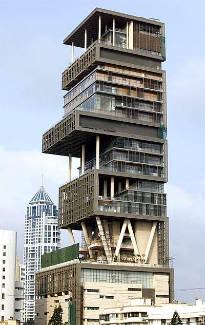 A view of the new house of Mukesh Ambani.