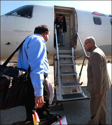 Pranab Mukherjee about to board an aircraft.