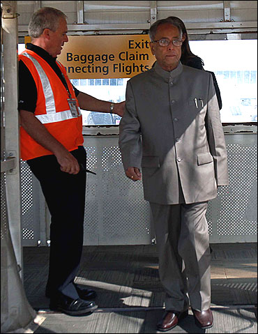 Pranab Mukherjee boarding an aircraft in the US.