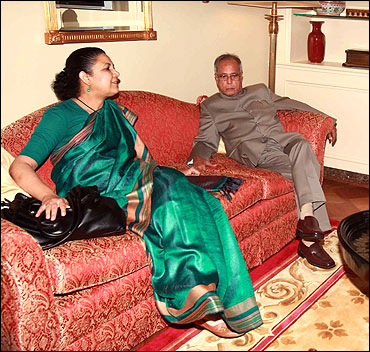 India's ambassador to the US Meera Shankar and Finance Minister Pranab Mukherjee.