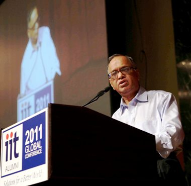 N R Narayana Murthy delivers the keynote address at IIT 2011 Global Conference at Hilton Hotel, New York.