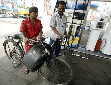 A petrol pump in Kolkata.