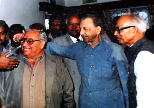 An old photograph of Russi Mody (left) with JRD Tata and late VG Gopal, former TISCO union leader, from the family album.