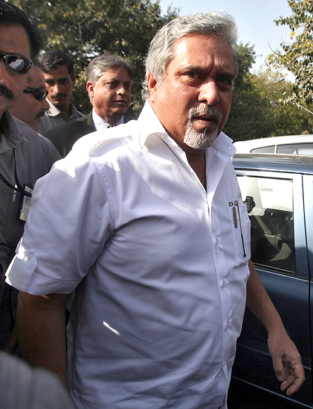 Kingfisher Airlines Chairman Vijay Mallya arrives to attend a meeting with the debt-laden airline's pilots in New Delhi.