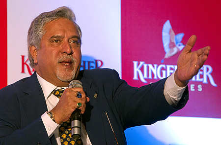 Kingfisher Airlines Chairman Vijay Mallya speaks to the media during a news conference in Mumbai.