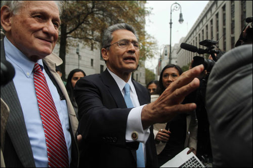Rajat Gupta speaking to the media.