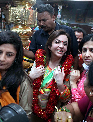 Nita Ambani at a temple at Hyderabad.