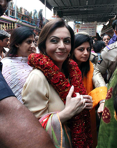 Nita Ambani at the Hyderabad temple.
