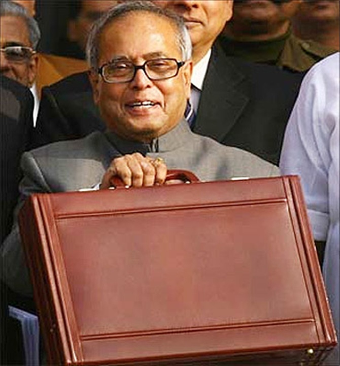 Pranab Mukherjee before presenting the Budget.