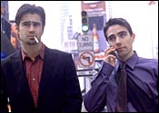 Colin Farrell [left] in Phone Booth