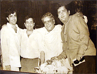 Prithviraj with his sons Raj, Shashi and Shammi Kapoor