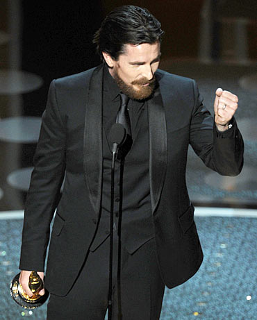 Christian Bale accepts the award for Best Performance by an Actor in a Supporting Role for 'The Fighter'