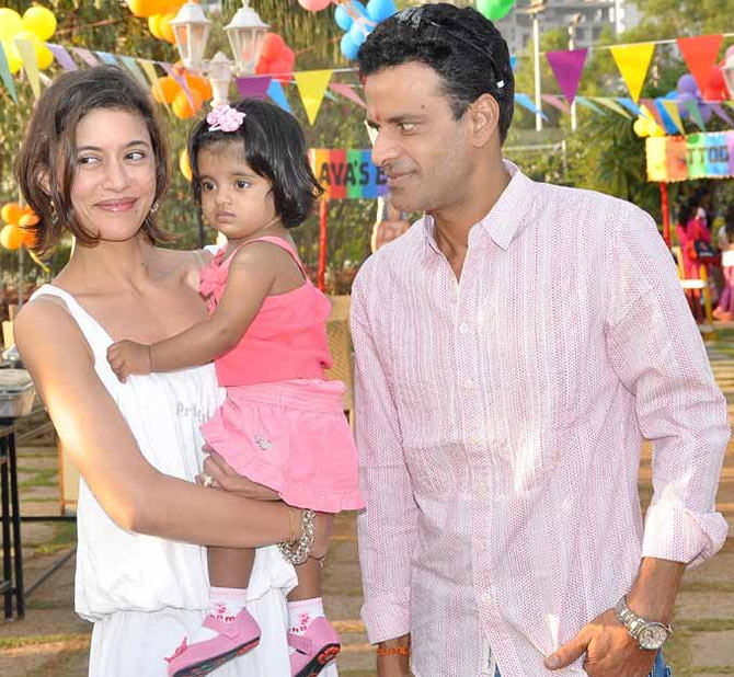 Manoj Bajpayee with his wife Shabana and daughter Ava Nayla