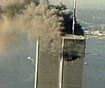The World Trade Centre in flames