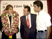 Amitabh, with son Abhishek and Sunjay Dutt