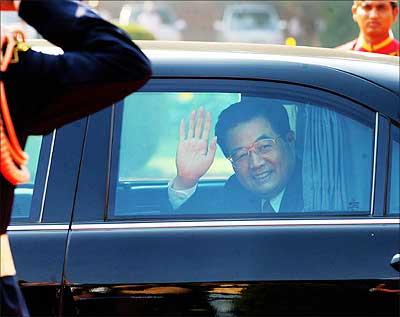 Chinese President Hu Jintao at Rashtrapati Bhavan during his trip to India in November 2006