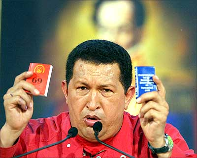 Venezuelan President Hugo Chavez at a press conference in Caracas