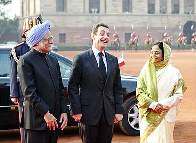 French President Nicolas Sarkozy with then President Pratibha Patil and Prime Minister Manmohan Singh at Rashtrapati Bhavan.
