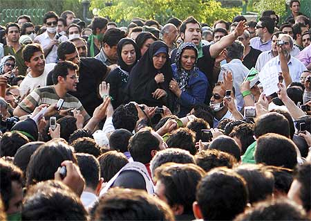 Faezeh Rafsanjani, daughter of former Iranian president Akbar Rafsanjani at a rally.