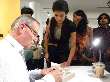 Jeffrey Archer signs copies of his books