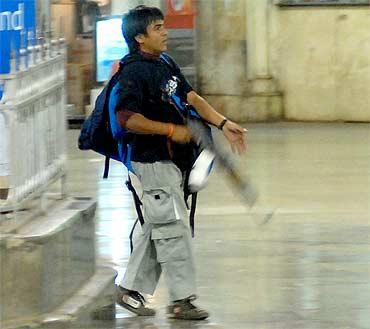 Kasab at the Chhattrapati Shivaji Terminus