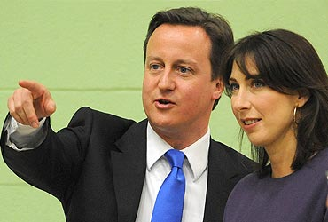 Conservative Party leader David Cameron with his wife Samantha