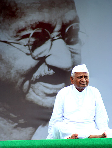 Anna Hazare on fast at Ramlila Maidan in New Delhi