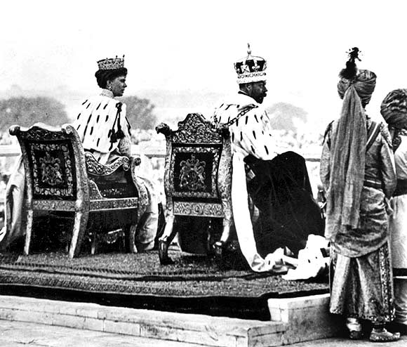 King-Emperor George V and Queen-Empress Mary, the only English monarchs to win the 'jewel in the crown', at the Coronation Park in Delhi in 1911.