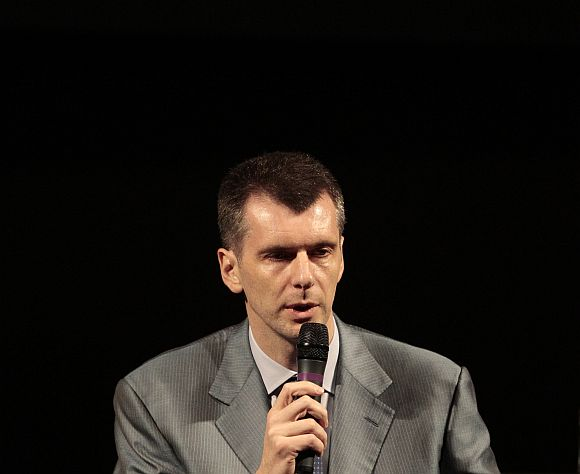 Mikhail Prokhorov addressing the media in Moscow on Monday