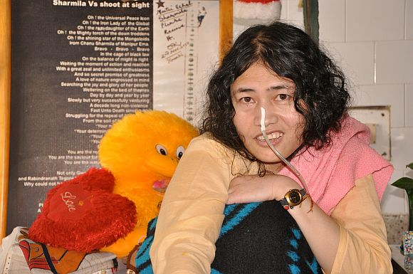 Irom Sharmila with the soft toy Desmond Coutinho sent her