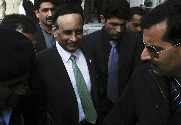 Pakistan's former ambassador to the US Haqqani leaves after appearing before a Supreme Court commission investigating a memo in Islamabad