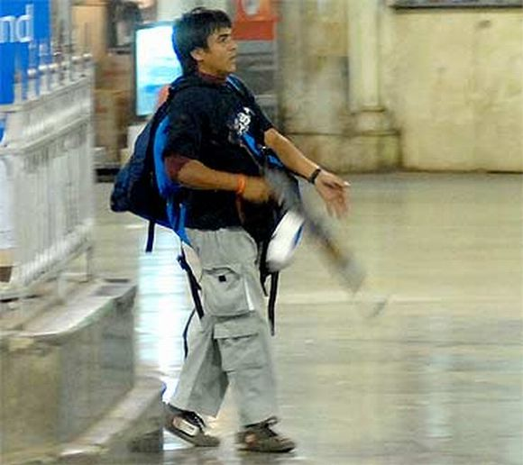 Kasab at the Chhatrapati Shivaji Terminus during the 26/11 attacks in Mumbai
