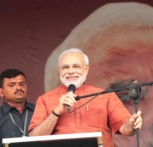 Gujarat Chief Minister Narendra Modi at the Lal Bahadur Shastri stadium in Hyderabad