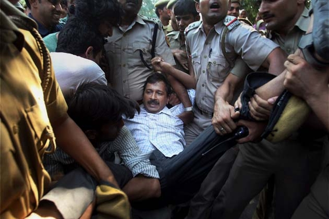 Kejriwal was detained during an anti-government protest