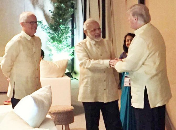 Image result for Modi briefly meets Trump, world leaders at ASEAN gala dinner