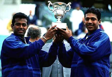 Leander Paes and Mahesh Bhupathi with the 1999 French Open title